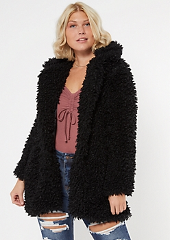 Black Shaggy Hooded Teddy Coat
