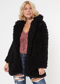 Black Shaggy Hooded Teddy Coat