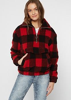 Red Plaid Print Half Zip Sherpa Pullover