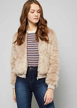 Taupe Faux Fur Bomber Jacket