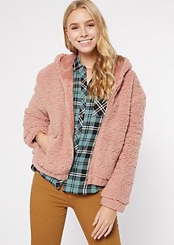 Pink Zip Up Sherpa Hoodie
