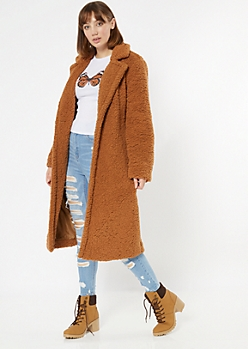 Camel Longline Faux Teddy Fur Coat