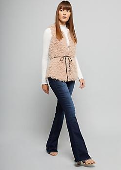 Pink Faux Fur Side Pocket Vest