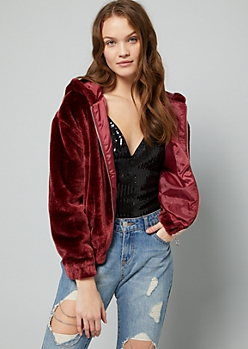 Burgundy Faux Fur Hooded Bomber Jacket