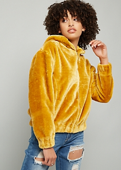 Mustard Faux Fur Hooded Bomber Jacket