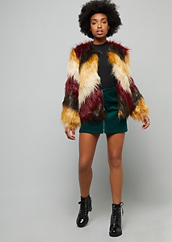 Burgundy Shaggy Chevron Faux Fur Coat