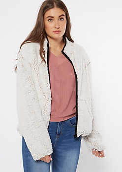 Frosted Taupe Trimmed Sherpa Drawstring Jacket