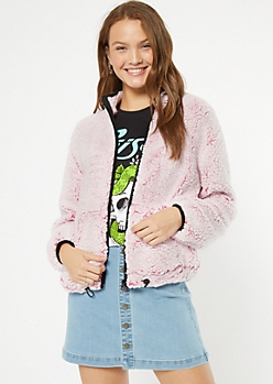 Frosted Neon Fuchsia Trimmed Sherpa Drawstring Jacket