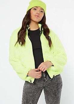 Frosted Neon Green Trimmed Sherpa Drawstring Jacket