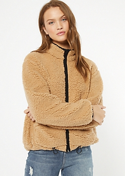Tan Trimmed Sherpa Drawstring Jacket