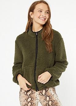 Olive Trimmed Sherpa Drawstring Jacket