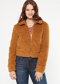 Camel Zip Up Sherpa Teddy Coat