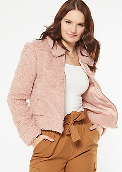 Pink Zip Up Sherpa Teddy Coat