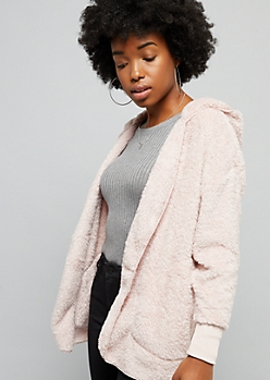Pink Faux Fur Open Front Hooded Jacket