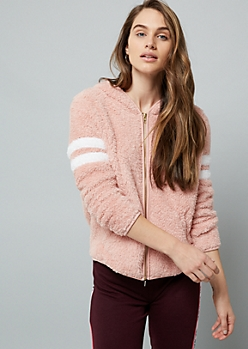 Pink Varsity Striped Hooded Sherpa Jacket
