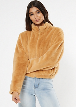 Tan Faux Fur Zip Up Jacket