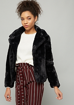 Black Button Down Cropped Faux Fur Coat