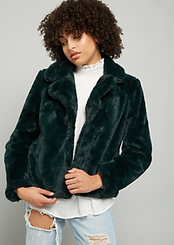 Green Button Down Cropped Faux Fur Coat