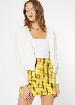 Ivory Faux Fur Hooded Jacket