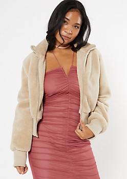 Taupe Faux Fur Zip Up Jacket