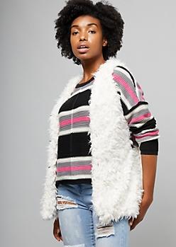 Ivory Open Front Faux Fur Vest