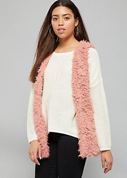 Pink Open Front Faux Fur Vest
