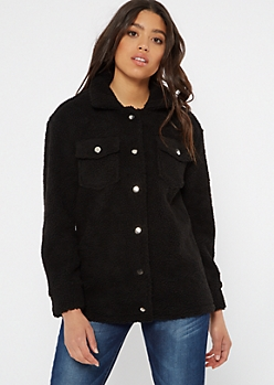 Black Button Down Teddy Coat