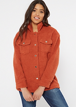 Orange Button Down Teddy Coat