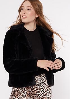 Black Faux Fur Collared Jacket