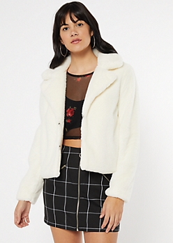 Ivory Faux Fur Collared Jacket
