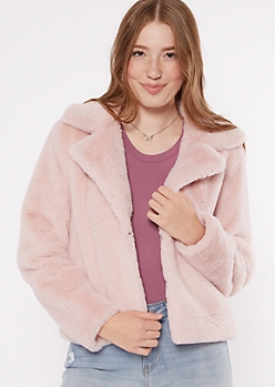 Pink Faux Fur Collared Jacket