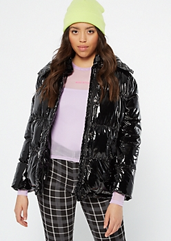 Black Metallic Puffer Jacket