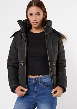 Black Faux Fur Hooded Snap Neck Puffer Jacket