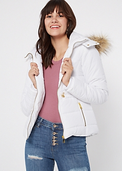 White Faux Fur Hooded Snap Neck Puffer Jacket