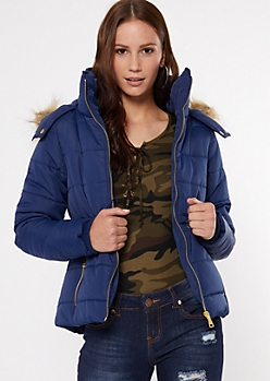 Navy Faux Fur Hooded Snap Neck Puffer Jacket
