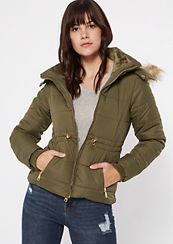 Olive Faux Fur Hooded Snap Neck Puffer Jacket