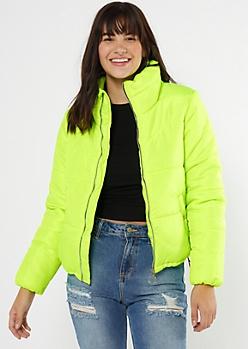 Neon Green Zip Front Puffer Jacket