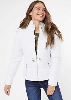 White Faux Fur Trim Hooded Puffer Coat