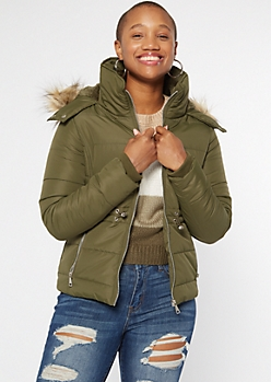 Olive Faux Fur Trim Hooded Puffer Coat
