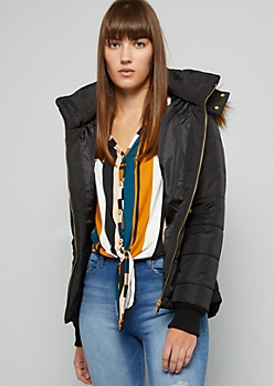 Black Hooded Cinched Waist Puffer Coat
