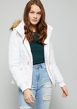White Hooded Cinched Waist Puffer Coat