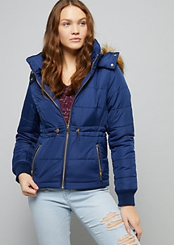 Navy Hooded Cinched Waist Puffer Coat