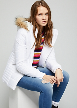 White Quilted Sherpa Lined Puffer Coat