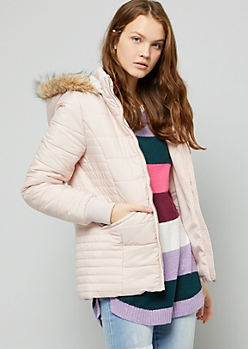 Pink Quilted Sherpa Lined Puffer Coat