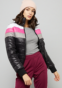 Black Striped Zip Front Puffer Jacket