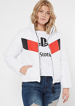 White Colorblock Drawstring Puffer Jacket