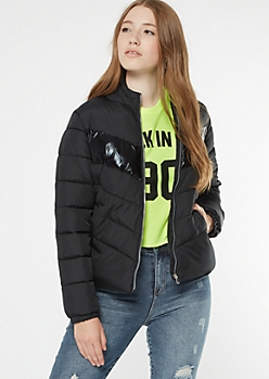 Black Reflective Stripe Puffer Jacket