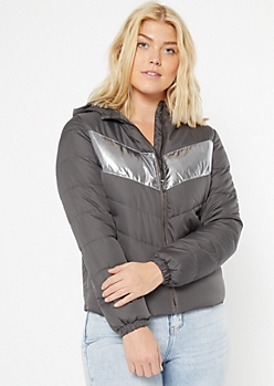 Gray Reflective Stripe Puffer Jacket