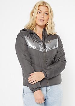 Gray Reflective Stripe Puffer Jacket