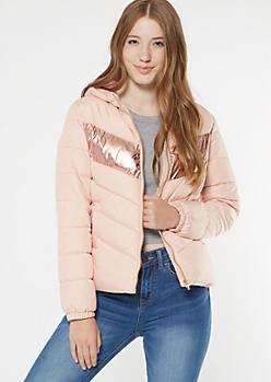 Pink Reflective Stripe Puffer Jacket